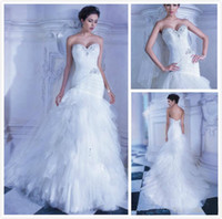 demetrios wedding dress - 2014 New Demetrios Charming Sweetheart Mermaid Wedding Dresses White Cascading Ruffles Beaded Gown Chapel Train Wedding Dresses