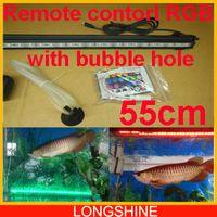 RGB aquarium tank light - V cm with Bubble hole RGB Fish Tank Plant Aquarium Led light Underwater Lamp Remote aquarium led lighting