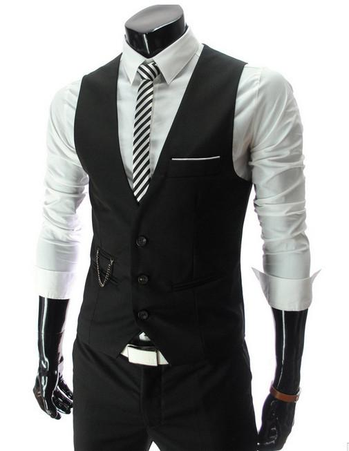 HOT hommes V-cou Slim Fit Vestes Suit Casual Formal Tuxedo Dress Waistcoat Style