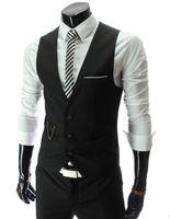 Wholesale HOT Mens V Neck Slim Fit Vests Suit Casual Formal Tuxedo Dress Waistcoat Style