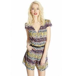 Wholesale 2014 NWT Ladies Jumpsuits Summer Occident Style Stylish Printing Slim Fit Sexy V neck Elegant