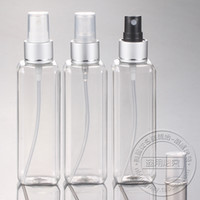 Cheap Free shipping 100ml(50pc lot) square transparent aluminum spray pump bottle , travel perfume containers , fine mist sprayer