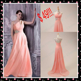 Wholesale In Stock Cheap Bridesmaid Dress Sexy One Shoulder Backless Evening Gowns with Beading Crystals Applique Long Chiffon Prom Dress