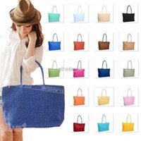 Totes straw beach bag - 16 colors Beach Casual Ladies Large Straw Woven Tote Shoulder Bag Vintage Summer Womens candy color BAG17