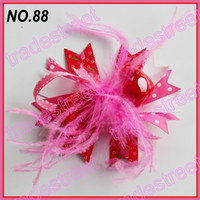 Hair Bows baby silk mix - mix color fashion boutique girl hair bows feather bows popular baby hair clips