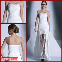Reference Images Strapless Elastic Satin 2014 New Sexy White Wedding Gowns Sheath Strapless Ankle-length Stretch Satin Lace Zipper Back Wedding Gown Bridal Dress