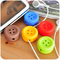 Wholesale Cute little girl fresh candy color buttons creative fashion style headphone winder cable management hub
