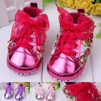 Wholesale Wholesales new Baby Kids shoes Children s grils athletic sports Casual wisby floral rose lace UP baby first walker shoes TJ