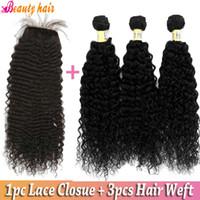 98-102g Brazilian Hair Natural Color 3 Bundles Remy Brazilian Virgin Human Hair Weft With Brazilian Virgin 1pc Base Silk Lace Clousure Deep Wave Curly Hair Extension 5A Grade