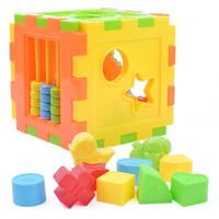 Wholesale plastic cube toy Cognitive building blocks toy box