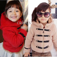 Wholesale Winter Jackets Girl Clothes Children Outwear Casual Coat Girls Coral Fleece Jackets Fashion Hooded Coat Child Clothing OC40408