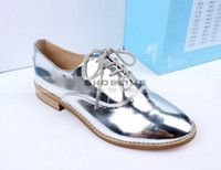 Oxfords silver flats - 2014 New Fashion PATENT BLUCHER Silver Leather Oxfords ladies female shoes Womens Flat Lace Up Ballet shoes for women