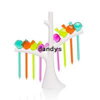 Wholesale New Creative Tree Birds Design Plastic Fruit Forks Stand Forks Hot Sale WKCF28 dandys
