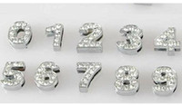 Wholesale 100pcs mm mm Full Rhinestone Slide number Charm DIY Accessories fit pet collar dog collar or bracelet