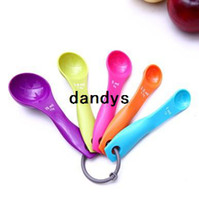 25pcs / lot (5sets) Multicolor Cuchara de medida (1 / 2.5 / 5 / 7,5 / 15 ml) Café Leche Te Fruit Powder cuchara dosificadora FCFB-65, dandys