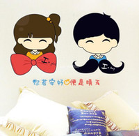 Wholesale The new third generation removable wall stickers cartoon couple decorative sticker if you well is sunny AY1025