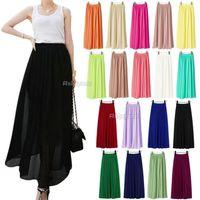 Cheap Hot Hot Hot!! Newest Arrivals High Quality Women Chiffon Pleated Elastic Waist Double Layer Full Length Maxi Long Skirt (qx94) Free Shipping