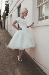 Wholesale A Line Wedding Dresses Short Tea Length Swiss Dot Tulle and Lace s Wedding Dress House of Mooshki
