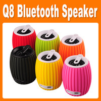 Wholesale Q8 Bluetooth Speaker Wireless Mini Stereo Sports Sound Shooter TF SD Card Hand Free Call Retail Box MIC Hook Grenade Sample