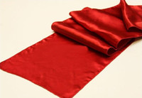 Wholesale red satin table runner for wedding hotel banquet