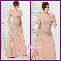 Wholesale 2014 Cheap Ankle Length Backless Applique Short Sleeve Strapless A Line Buff Plus Size Mother of the Bride Dresses