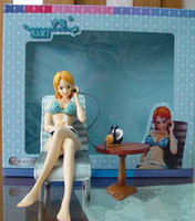 Wholesale Japanese Anime One Piece NAMI cm Sexy PVC Toys Figure Brand New in Box Blue Bikini with Deck Chair