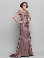 Wholesale a line crew long purple taffeta beading Appliqué attractive design Mother of the Bride Dresses new spring