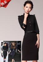Wholesale Retro women career dresses stand collar half sleeve Spring Autumn slim dress ladies work dress black Khaki skirt size S M L XL XXL