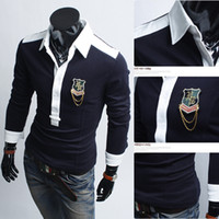 Wholesale new Casual Slim Men s polo shirts fashion Men s t shirts mens t shirts Personality spell color