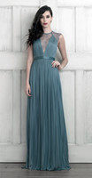 Wholesale A Line Sheer Plunging V Neck Gathered Silk Tulle Dress with Lace Panelled Back Ribbon Sash Prom Evening Dresses Mother Gowns Vogue wj