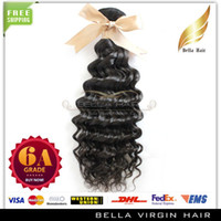 Wholesale 6A quot quot curly Brazilian deep wave wavy human hair weaves extensions DHL natural color bellahair braiding hair
