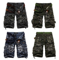 Wholesale Complicated Washed Cotton Cargos Shorts Casual Capri Pants Men Sport Shorts Middle Pants Color Size AWD0431
