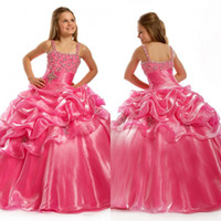 Wholesale Sweet Kids Organza Spaghetti Evening Party Crystal Beading Floor Length Ball Gown Pink Flower Girl Dresses EM01206