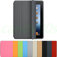 Wholesale Smart folding PU leather case cover for new iPad Air ipad with crystal transparent hard PC back case