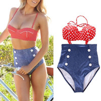 Wholesale S5Q Retro Swimsuit Swimwear Vintage Push Up Bandeau High Waisted Bikini Set AAADAR
