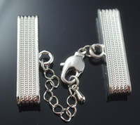 Clasps & Hooks Alloy Valentine's Day Wholesale - making Leather Cord Ends Cap With Lobster Clasp Buckle and Extender for Hipanema Bracelet,inner size 35*4mm