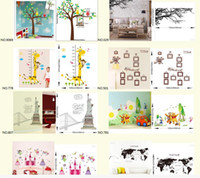 Wholesale Mix Order Large Wall Decor Decals DIY Cartoon Tree Animals Wall Stickers for Living Room and Kids Room Decoration