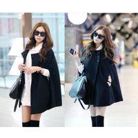 Wholesale S5Q Fashion Womens Black Batwing Cape Wool Poncho Jacket Winter Warm Cloak Coat AAADAZ