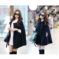 Wholesale S5Q Womens Black Batwing Cape Wool Poncho Jacket Winter Warm Cloak Coat Fashion AAADAZ