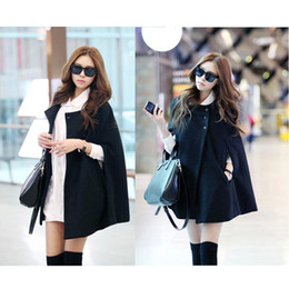 Wholesale S5Q Fashion Womens Black Batwing Cape Wool Poncho Jacket Winter Warm Cloak Coat AAADAZ