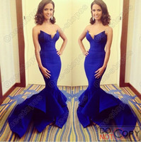 Reference Images Sweetheart Satin 2014 New Hot Rocsi Diaz Emmy Awards Sweetheart Satin Royal Blue Mermaid Prom Dresses Long Ruffles Skirt Celebrity Evening Gown BO5324