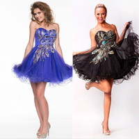 Reference Images Sweetheart Tulle 2014 Graduation Dresses Sexy peacock Short Tulle Prom Dresses Short A Line Appliqued Cocktail Party Homecoming Dresses Gown