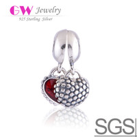 Wholesale Red silver heart beads with threaded made of sterling silver beads charms fit european fashion bracelets LW087
