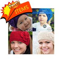 Wholesale HOT SALE Women knitted headband with flower crochet hair headband Handmade hair accessories Mixed