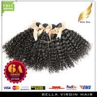 Wholesale 6A quot quot Malaysian hair weave human hair Curly hair extensions Queen products DHL natural color bella hair