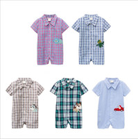 Boy Summer 100% Cotton Wholesale 2014 new spring summer Children's boys babys fashion cotton Baby plaid Cartoon animals climb clothes & Romper hot sell YM-212
