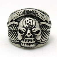big band machine - 316L Stainless SteeL Cool Silver Biker Skull Big Machine Silver Ring Factory Price