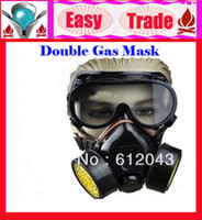 Cheap 2013 Best Selling Cheap Double Gas Mask Protection Filter Chemical Gas Respirator Face Mask