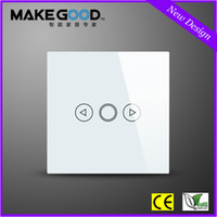 Wholesale New Plain White Gang Way Crystal Glass Touch Dimmer Light Switch blue LED indicator UK Model
