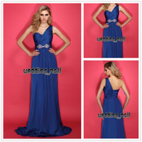 Reference Images Chiffon Crystal/Sequins 2014 Stunning Blue A Line One Shoulder Crystal Sequins Ruched Bodice Chiffon Zipper Bridesmaid Dresses Prom Party Dresses Free Shipping